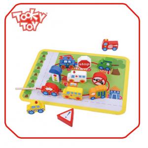 پازل شهرک ترافیک 12تکه چوبی tooky_toys کدtkb512