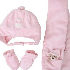 ست هدیه کلاه و دستکش و شال نوزادی fly by fly کد 15282 رنگ صورتی