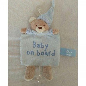 آویز هشدار کودک در ماشین baby on board کد 16300 (آبی،صورتی و کرم)