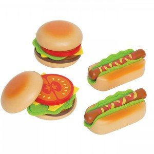 ست ساندویچ چوبی کودک برندHamburgers & Hotdogs hape کد 3112