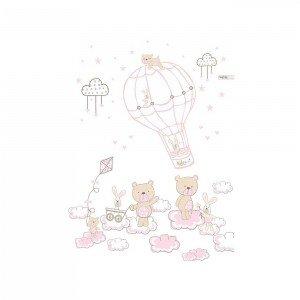 پرده اتاق کودک saint clair خرس و خرگوش کاروسل صورتی کد 115100