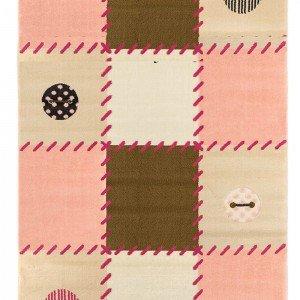 فرش اتاق کودک saint clair طرح چهارخانه ( چهل تکه ) صورتی کد 90115028