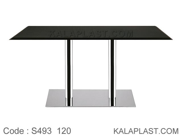 میز 6 نفره صفحه PVC پایه چدنی ورق استیل دوبل کد S493